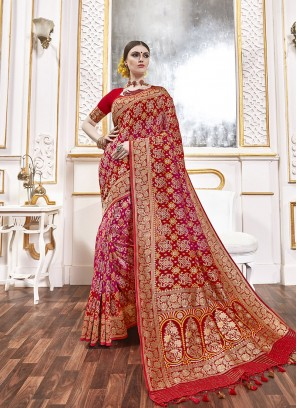 Red Color Viscose Latest Design Saree