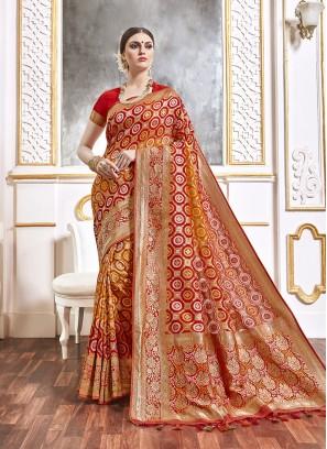 Red Color Viscose Saree For Wedding