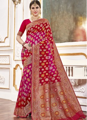 Red Color Viscose Saree For Women
