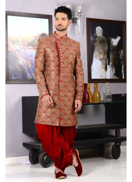Red Colour Men's Bridal Groom Indo Western Sherwani