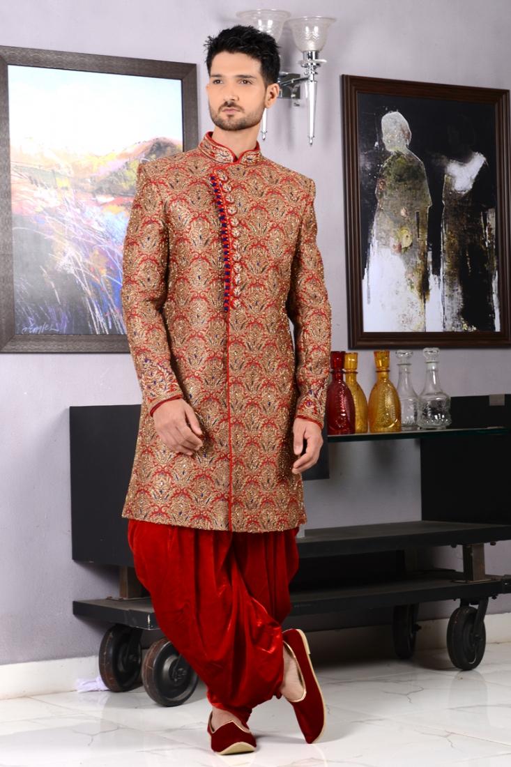 Red Colour Men's Bridal Groom Indo Western Sherwani
