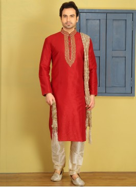 Red Embroidered Kurta Pajama