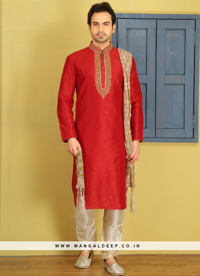 Red Embroidered Kurta Pajama