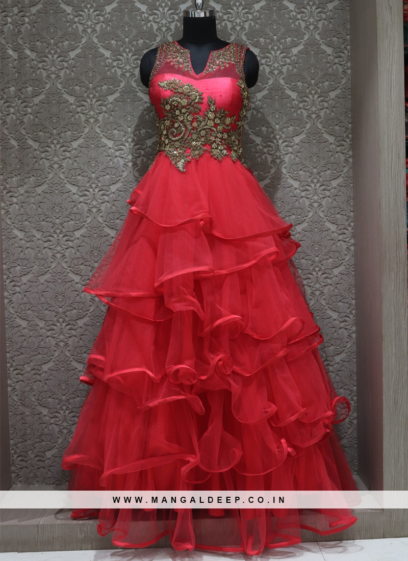 Red Net Designer Wedding Wear Gown