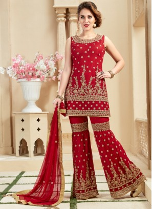 Red Net Fabric Hand Work Designer Palazzo Suit