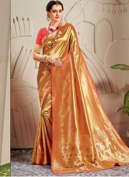 Regal Banarasi Silk Woven Work Pink Saree