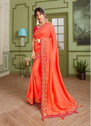 Regal Orange Color Embroidered Saree