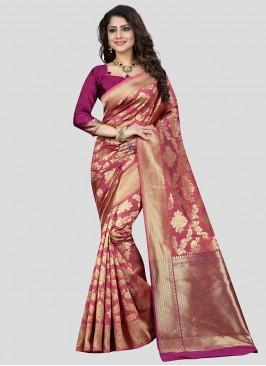 Regal Pink Color Banarasi Silk Saree Bridal