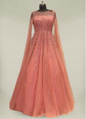 Regal Pink Color Net Diamond Gown For Women