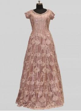 Regal Pink Color Net Gow For Bridal