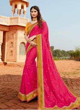 Regal Pink Color Silk Saree