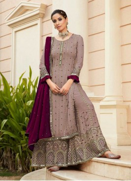 Rose Gold Color Georgette Sharara For Women