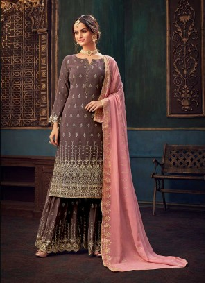 Rose Pink Color Georgette Plazzo Dress