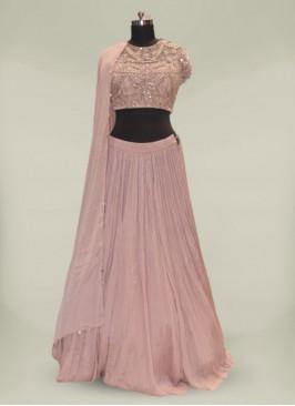 Rose Pink Georgette Fancy Lehenga