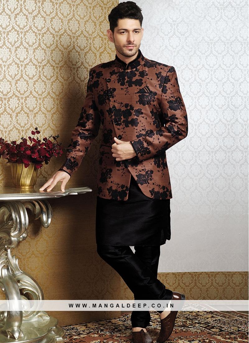 Royal Black Kurta with The Brown Jacket