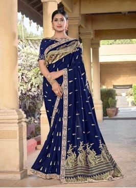 Royal Blue Color Silk Fancy Saree