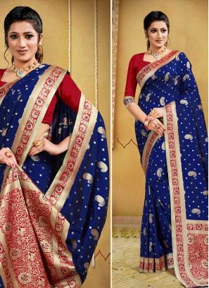 Royal Blue Color Silk Party Wear Saree