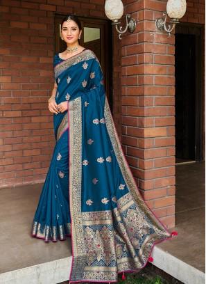 Royal Blue Color Silk Stone Work Saree