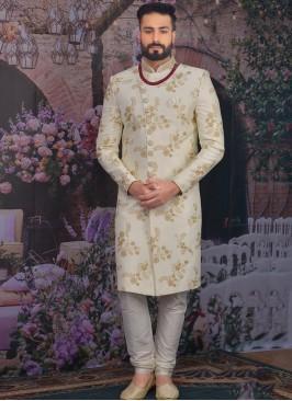 Sangeet Function Wear Banarasi,Silk Fancy Cream Color Sherwani