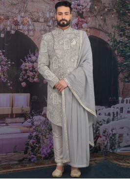 Sangeet Function Wear Banarasi,Silk Fancy Grey Color Sherwani