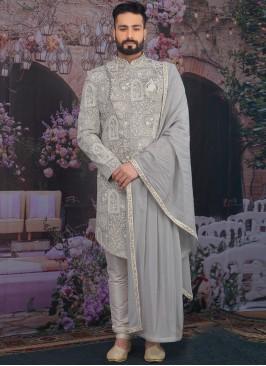 Sangeet Function Wear Banarasi,Silk Fancy Grey Color Sherwani