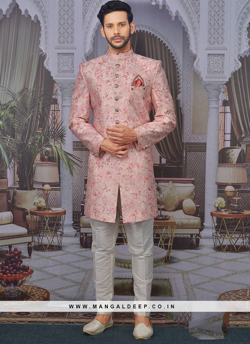 Sangeet Function Wear Banarasi,Silk Fancy Pink Color Indo Western