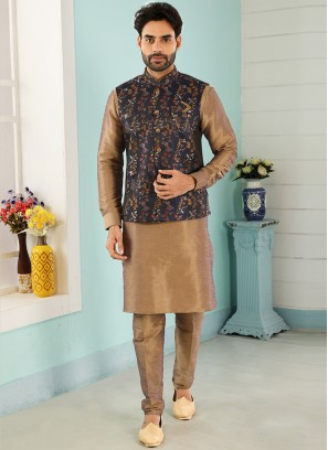 Sangeet Function Wear Beige Color Kurta Pajama With Jacket