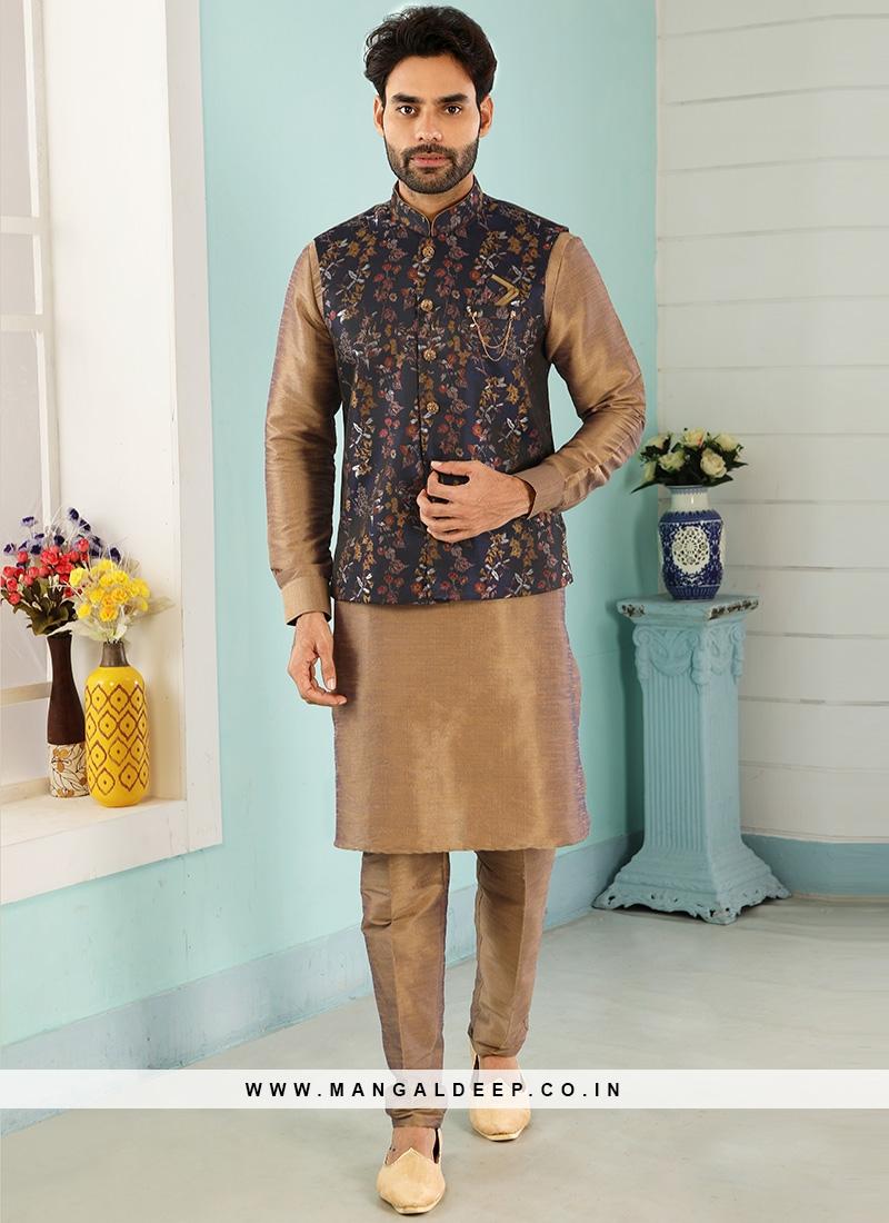 Sangeet Function Wear Beige Color Kurta Pajama With Jacket
