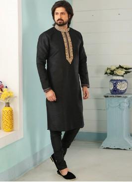 Sangeet Function Wear Black Color Designer Kurta Pajama