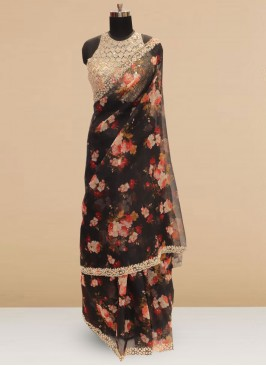 Sangeet Function Wear Black Color Designer Saree