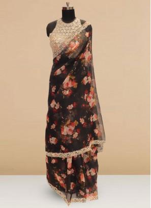 Sangeet Function Wear Black Color Designer Saree