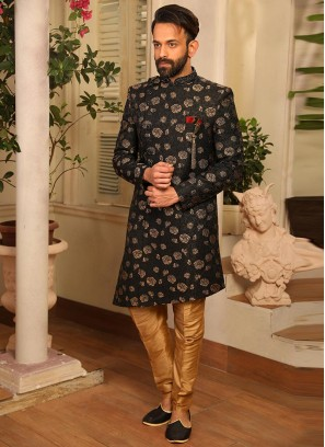 Sangeet Function Wear Black Color Jacquard Indo Western Suit