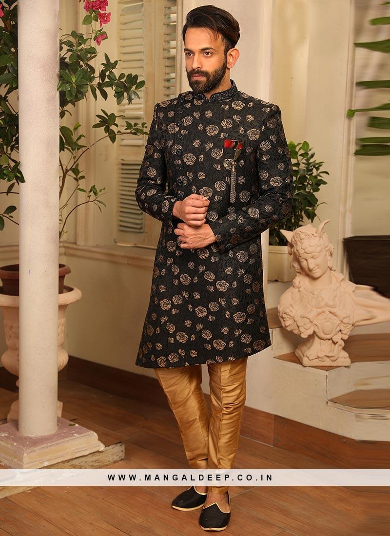 Sangeet Function Wear Black Color Jacquard Indo Western Suit