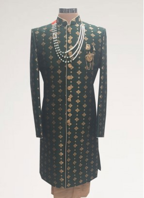 Sangeet Function Wear Black Color Men Kurta Pajama