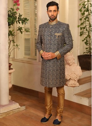 Sangeet Function Wear Blue Color Banarasi And Art Silk Indo Western Suit