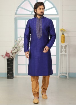 Sangeet Function Wear Blue Color Designer Kurta Pajama