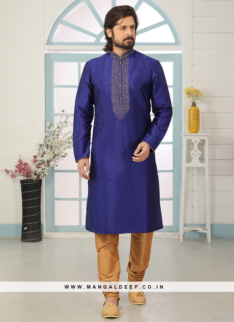 Sangeet Function Wear Blue Color Designer Kurta Pajama