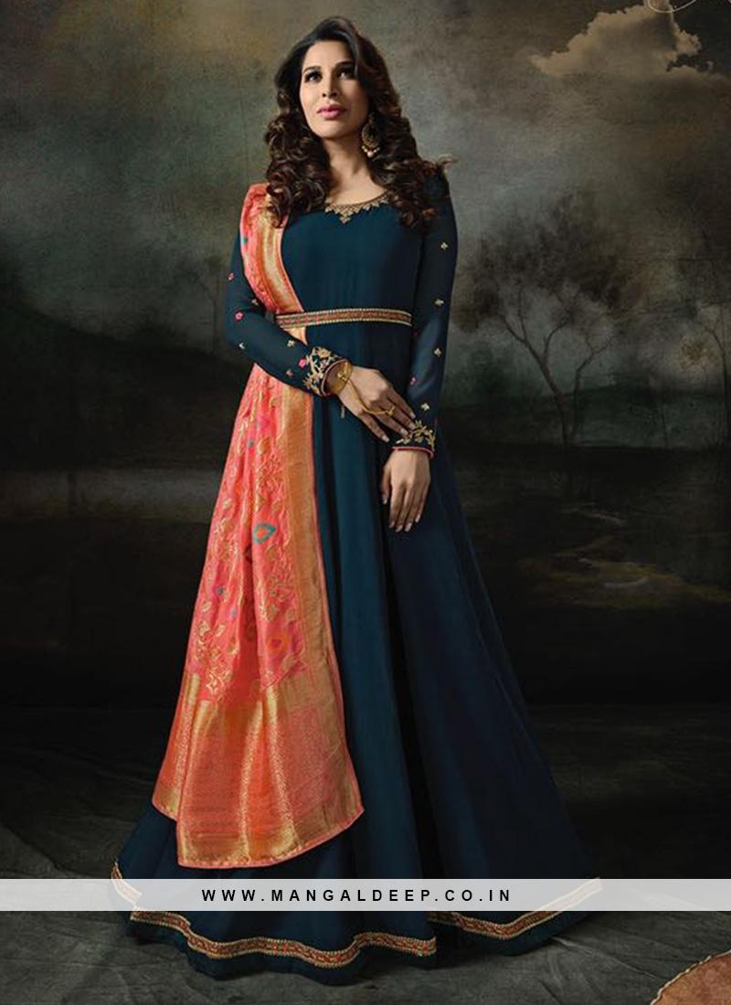 Sangeet Function Wear Blue Color Designer Suit