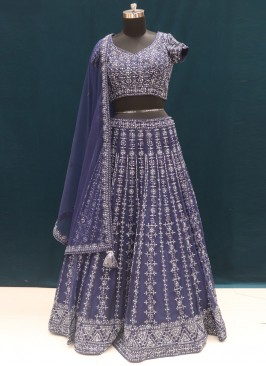 Sangeet Function Wear Blue Color Embroidered Lehenga Choli