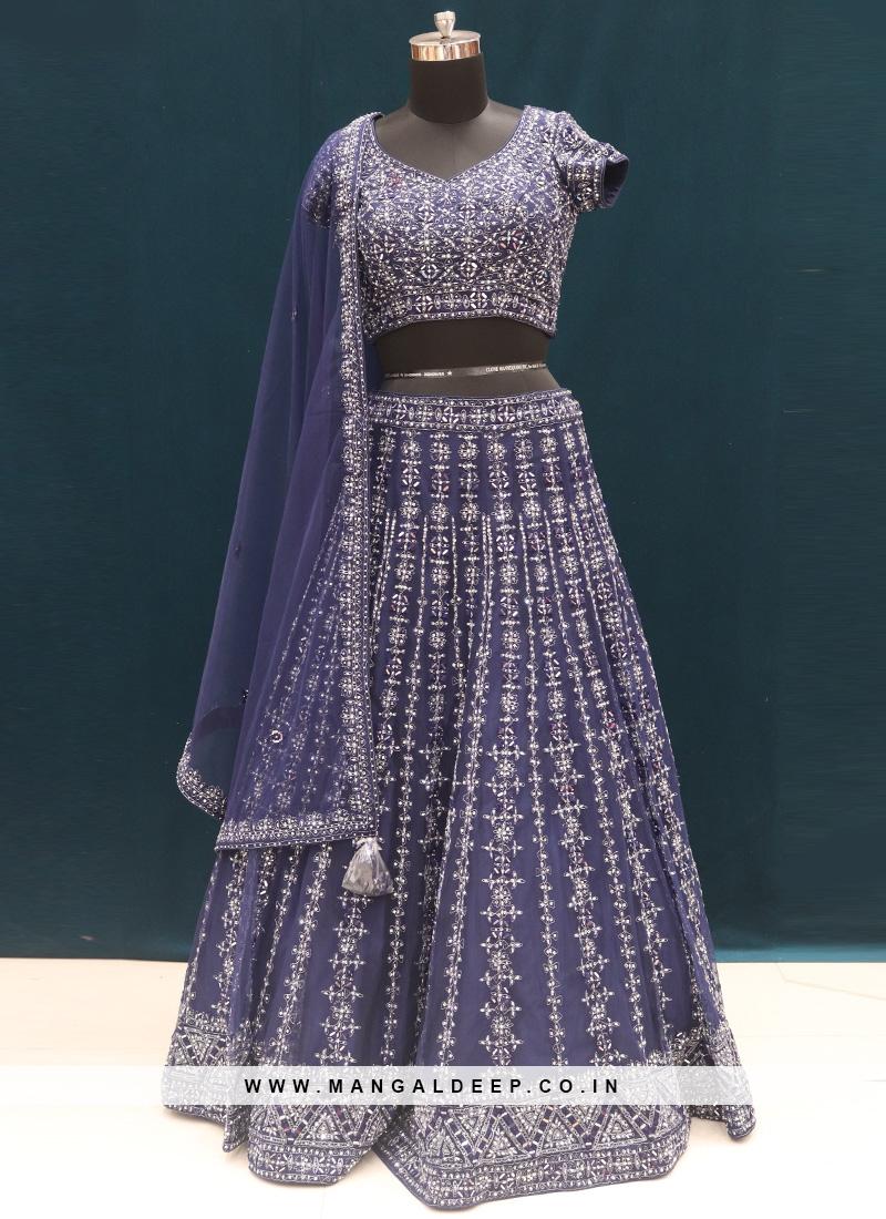 Sangeet Function Wear Blue Color Embroidered Lehenga Choli