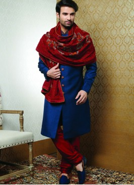 Sangeet Function Wear Blue Color Fancy Sherwani