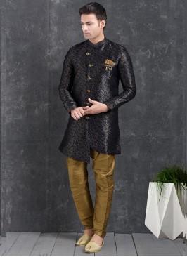 Sangeet Function Wear Blue Color Jacquard Silk Indo Western Kurta Pajama
