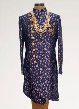 Sangeet Function Wear Blue Color Men Indo Western Kurta Pajama