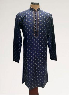 Sangeet Function Wear Blue Color Men Kurta Pajama
