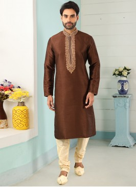 Sangeet Function Wear Brown Color Designer Kurta Pajama
