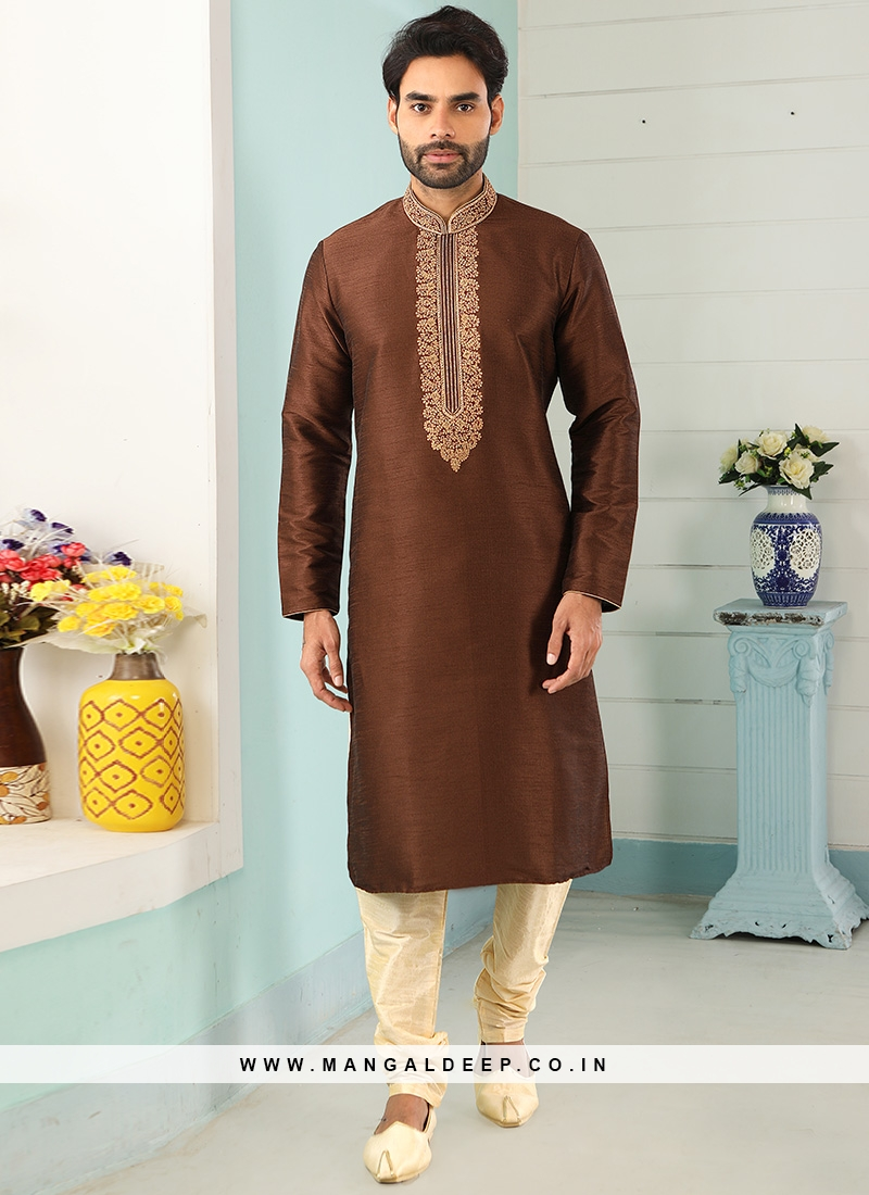 Sangeet Function Wear Brown Color Designer Kurta Pajama