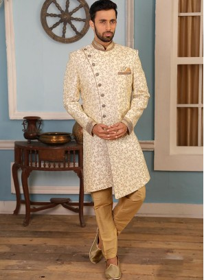Sangeet Function Wear Cream Color Jacquard And Silk Indo Western Suit