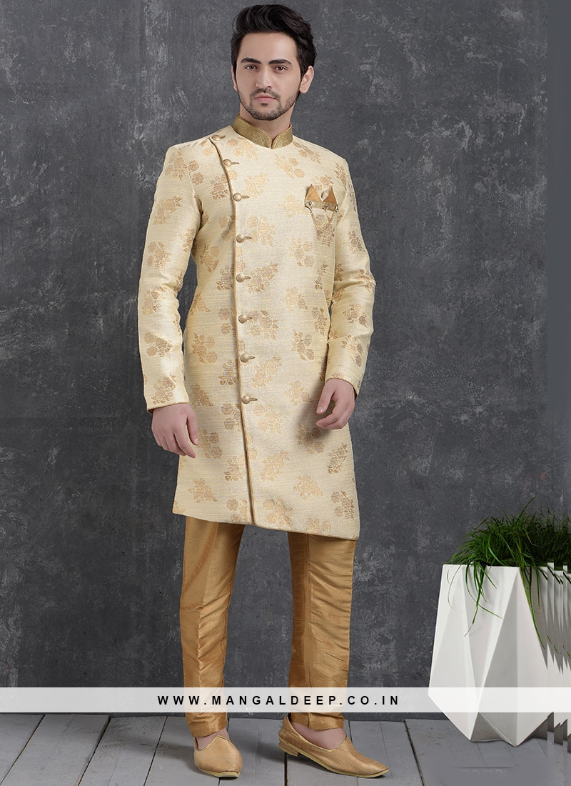 Sangeet Function Wear Cream Color Jacquard Silk Indo Western Kurta Pajama