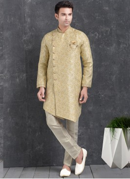 Sangeet Function Wear Cream Color Jacquard Silk Indo Western Kurta Pajama
