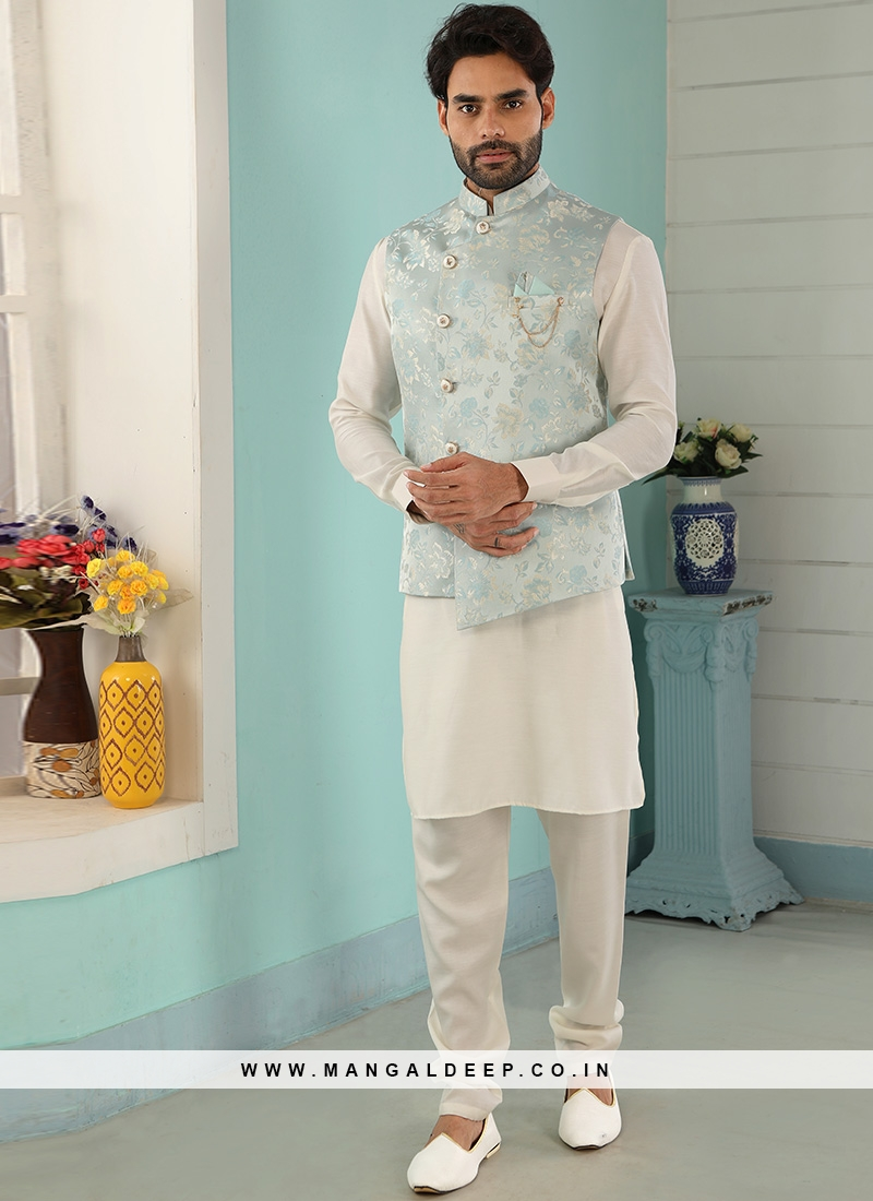 Sangeet Function Wear Cream Color Kurta Pajama With Jacket